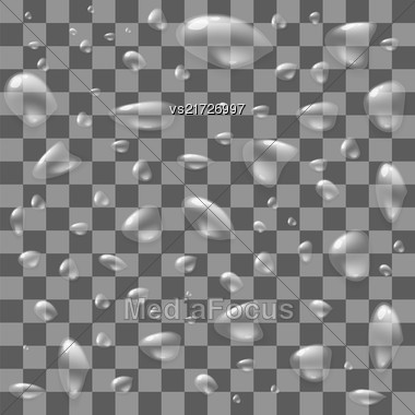 Set Of Water Drops Isolated On Checkered Background Stock Photo