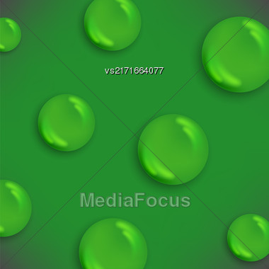 Set Of Water Drops Isolated On Green Background Stock Photo