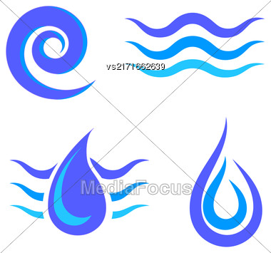 Set Of Water Icons Isolated On White Background Stock Photo