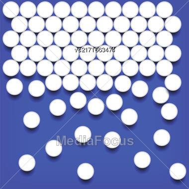 Set Of White Pills Isolated On Blue Backgound Stock Photo