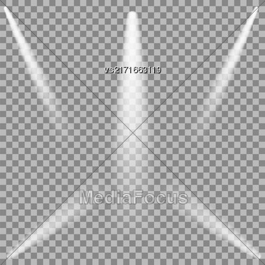 Set Of White Spotlights Isolated On Checkered Background Stock Photo