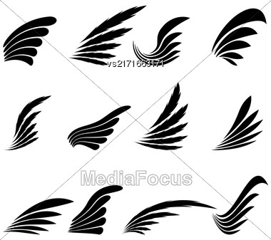 Set Of Wings Icons Isolated On White Background. Wing Design Elements Stock Photo