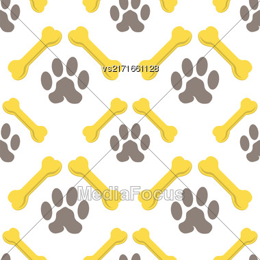 Set Of Yellow Bones Isolated On White Background. Seamless Bones For Dog Pattern Stock Photo