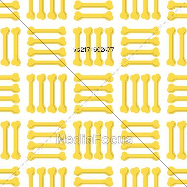 Set Of Yellow Bones Isolated On White Background. Seamless Bones For Dog Pattern Stock Photo