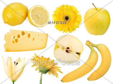 Set Of Yellow Fruits Food And Flowers Close-up Studio Photography Stock Photo