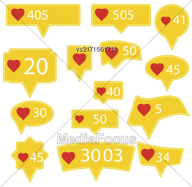 Set Of Yellow Icons With Red Heart Isolated On White Background Stock Photo