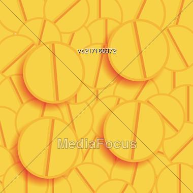Set Of Yellow Pills. Medical Yellow Backgrpound Stock Photo
