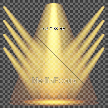 Set Of Yellow Spotlights Isolated On Checkered Background Stock Photo