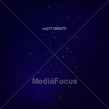 Set Of Yellow Stars Isolated On Blue Sky Background. Stars Background. Milky Way Stock Photo