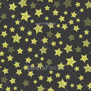 Set Of Yellow Stars On Dark Background. Seamless Starry Pattern Stock Photo