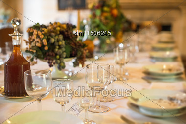 Setout Table With Tableware In Modern Restaurant Stock Photo
