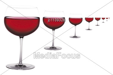 Several Glasses Of Red Wine Online View Stock Photo