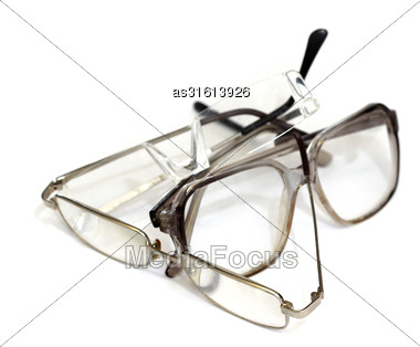 Several Nerd Glasses On A White Background Stock Photo