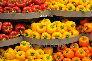 Several Pods Of Varicolored Sweet Pepper, Capsicum Stock Photo