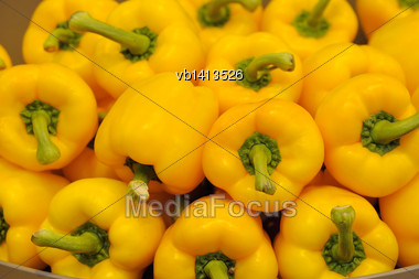Several Pods Of Yellow Sweet Pepper, Capsicum Stock Photo
