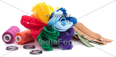 Sewing Accessories Isolated On White Background Cutout Stock Photo