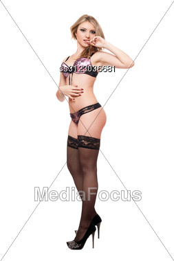 Sexy Attractive Young Blonde In Lingerie. Stock Photo
