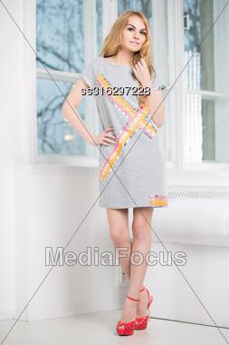 Sexy Blond Woman Posing In Short Gray Dress Near The Window Stock Photo