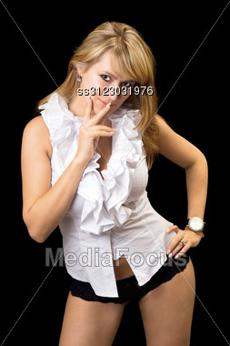 Sexy Blond Woman In White Shirt And Black Panties. Stock Photo