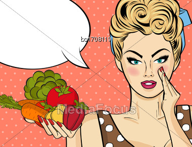Sexy Blonde Woman With Many Vegetables In His Hands. Vector Illustration Stock Photo