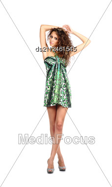 Sexy Brunette In Parti-coloured Dress Stock Photo