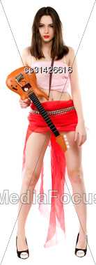 Sexy Brunette With Toy Guitar Wearing Short Red Skirt And Pink Top. Isolated On White Stock Photo