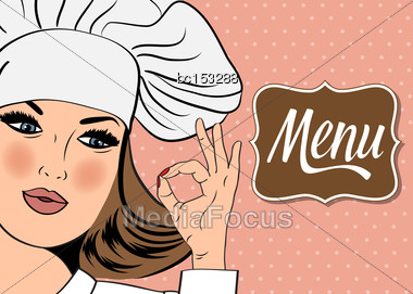 Sexy Chef Woman In Uniform Gesturing Ok Sign With Her Hand, Vector Format. Menu Stock Photo