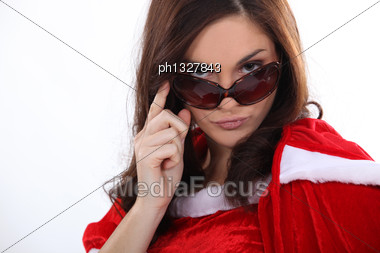 Sexy Mother Christmas With Sunglasses Stock Photo