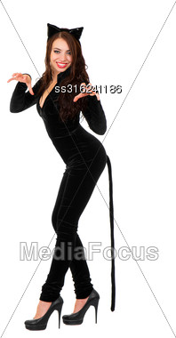 Sexy Playful Woman Posing In Black Catsuit. Isolated On White Stock Photo