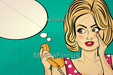 Sexy Pop Art Woman Talking On A Retro Phone. Pin Up Girl. Vector Illustration Stock Photo