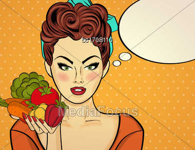 Sexy Pop Art Woman With Vegetables In His Hand. Pin Up Girl. Vector Illustration Stock Photo