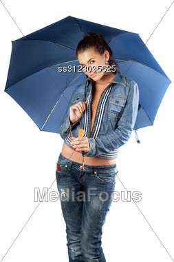 Sexy Young Woman In A Denim Suit With Umbrella Stock Photo