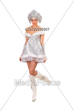 Sexy Young Woman Dressed As Snow Maiden. Stock Photo