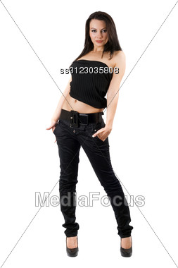 Sexy Young Woman In A Black Jeans. Stock Photo