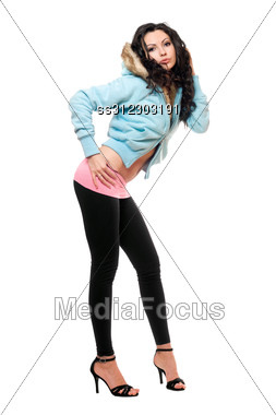 Sexy Young Woman In A Black Leggings. Stock Photo