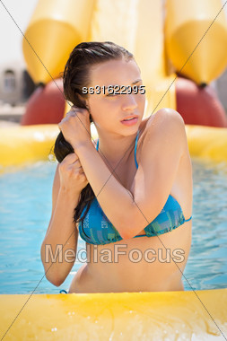 Sexy Young Woman Playing With Her Wet Dark Hair Stock Photo