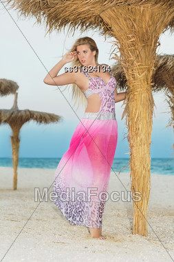 Sexy Young Woman Posing In Pink Dress On The Beach Stock Photo