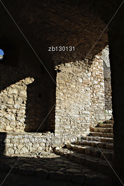 Shadow Detail Of Medieval Fortress, Stone Walls And Entrance. Stock Photo