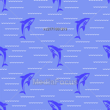Shark Isolated On Blue Background. Fish Seamless Pattern Stock Photo