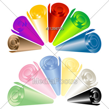 Sheet Rolls In Colors, Isolated Objects Over White Stock Photo