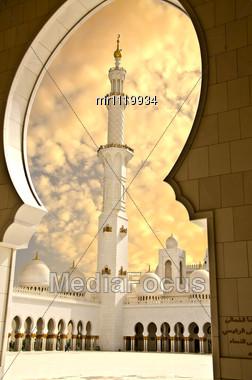 Sheikh Zayed Mosque In Abu Dhabi City Stock Photo