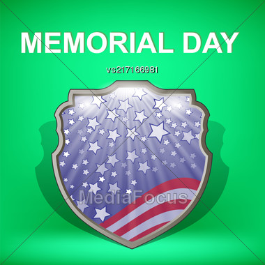 Shield Of America. Memorial Day Celebration Poster. Memorial Day American Flag. Memorial Day Shield Background Stock Photo
