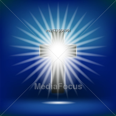 Shining Cross Isolated On Soft Blue Background Stock Photo