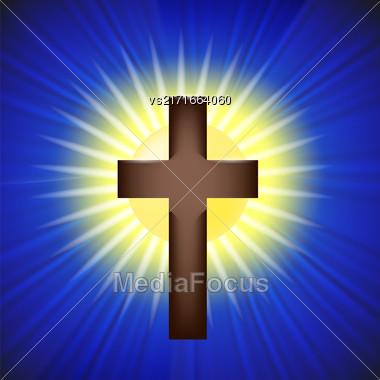 Shining Cross Isolated On Sunny Blue Background Stock Photo