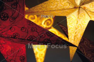 Shining Paper Stars Stock Photo