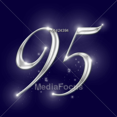 Shiny Chrome Alphabet Numbers And Symbols On A Starry Night Background Stock Photo