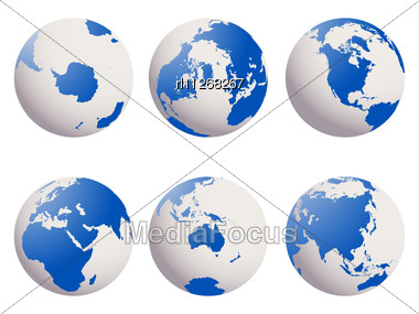 Shiny Earth Globes Set Stock Photo