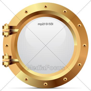 Ship Bronze Porthole On White Background. Vector Illustration Stock Photo