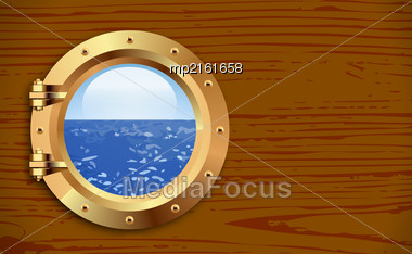 Ship Bronze Porthole On Wooden Background. Vector Illustration Stock Photo