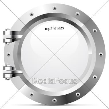 Ship Metal Porthole On White Background. Vector Illustration Stock Photo